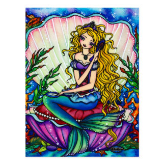 Clamshell Mermaid Fantasy Fairy Art Postcard