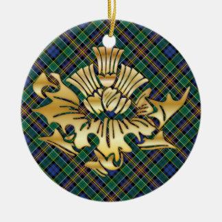 Clan Allison Tartan & Faux Gold Scottish Thistles Ceramic Ornament