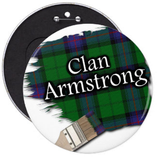 Clan Armstrong Tartan Paint Brush 6 Inch Round Button