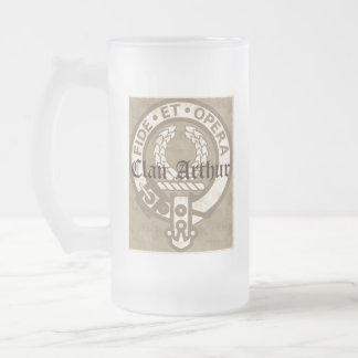 Clan Arthur Antique Frosted Glass Beer Mug