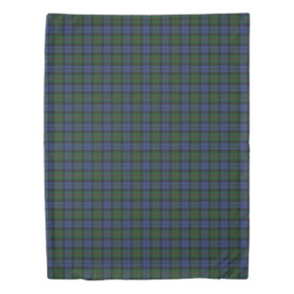 Clan Baird Scottish Accents Blue Green Tartan Duvet Cover