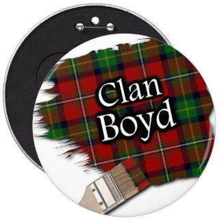 Clan Boyd Tartan Paint Brush 6 Inch Round Button
