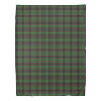 Clan Buchan Scottish Accents Black Green Tartan Duvet Cover