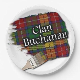 Clan Buchanan Scottish Tartan Paint Brush 9 Inch Paper Plate