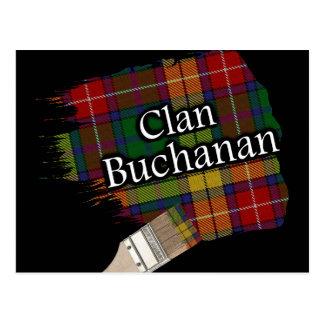 Clan Buchanan Scottish Tartan Paint Brush Postcard