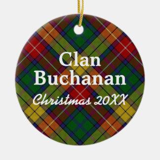 Clan Buchanan Scottish Tartan Round Ceramic Ornament