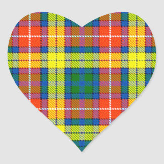 Clan Buchanan Tartan Heart Sticker
