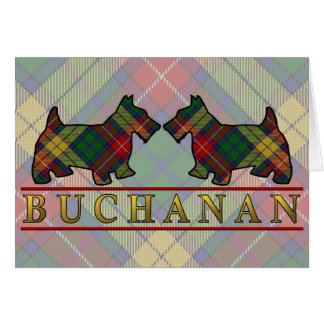 Clan Buchanan Tartan Scottie Dogs Greeting Card