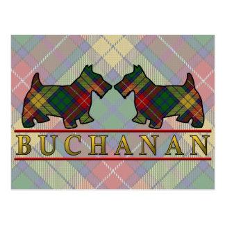 Clan Buchanan Tartan Scottie Dogs Postcard