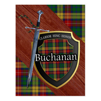 Clan Buchanan Tartan Sword & Shield Postcard
