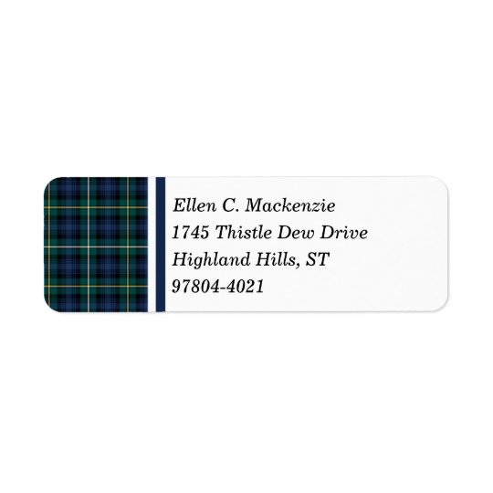 Clan Campbell of Argyll Navy Blue Scottish Tartan Return Address Label