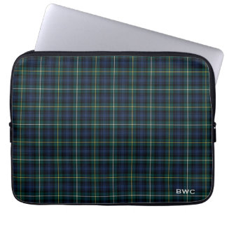 Clan Campbell of Argyll Tartan Blue Plaid Monogram Laptop Sleeve