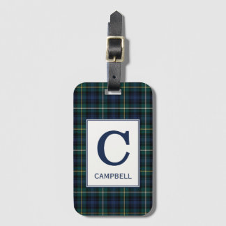 Clan Campbell of Argyll Tartan Monogrammed Luggage Tag