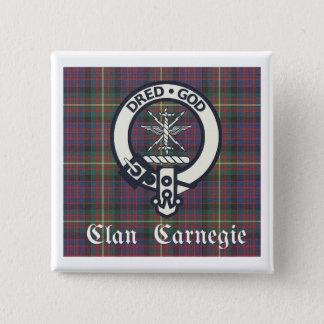 Clan Carnegie Crest Tartan 2 Inch Square Button