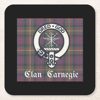 Clan Carnegie Crest Tartan Square Paper Coaster