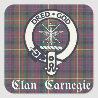 Clan Carnegie Crest Tartan Square Sticker