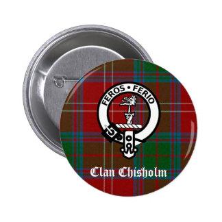 Clan Chisholm Tartan & Crest Badge 2 Inch Round Button