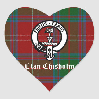 Clan Chisholm Tartan & Crest Badge Heart Sticker