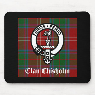 Clan Chisholm Tartan & Crest Badge Mouse Pad