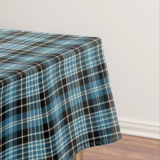 Clan Clark Bright Blue, Black and White Tartan Tablecloth