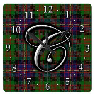 Clan Cochrane Cochran Letter C Monogram Tartan Wall Clocks