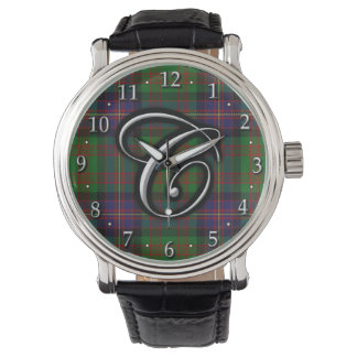 Clan Cochrane Cochran Letter C Monogram Tartan Watch