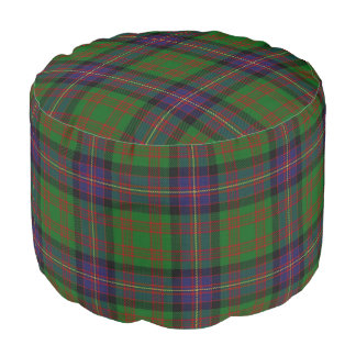 Clan Cochrane Scottish Style Blue Green Tartan Pouf