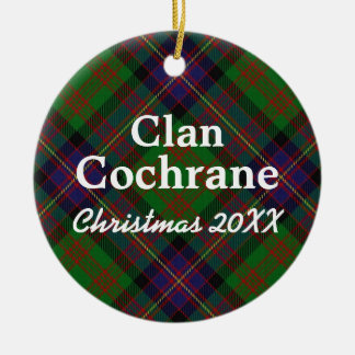 Clan Cochrane Scottish Tartan Round Ceramic Ornament