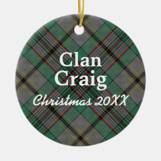Clan Craig Scottish Tartan Round Ceramic Ornament