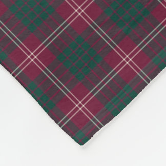 Clan Crawford Dark Red and Green Tartan Fleece Blanket