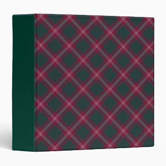 Clan Crawford Maroon and Forest Green Tartan 3 Ring Binder