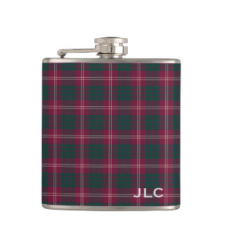 Clan Crawford Tartan Maroon Plaid Monogram Hip Flask