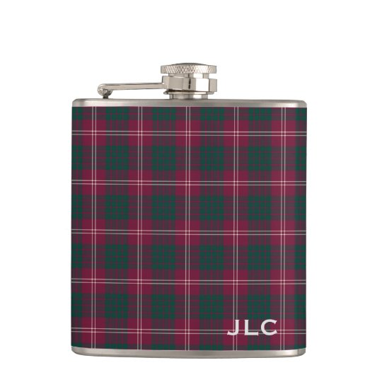 Clan Crawford Tartan Maroon Plaid Monogram Hip Flask