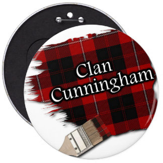 Clan Cunningham Tartan Paint Brush 6 Inch Round Button