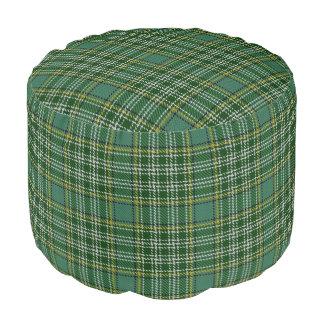 Clan Currie Scottish Style Green White Tartan Pouf