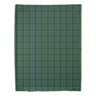 Clan Davidson Scottish Accents Blue Green Tartan Duvet Cover