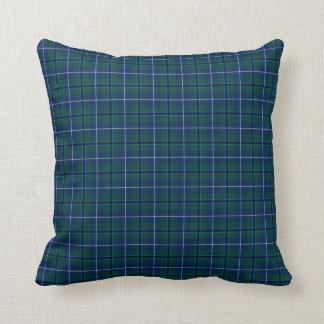 Clan Douglas Dark Blue and Green Modern Tartan Throw Pillow