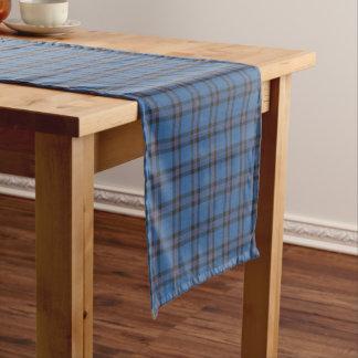 Clan Elliot Light Blue and Brown Scottish Tartan Short Table Runner