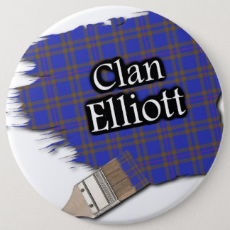 Clan Elliott Tartan Paint Brush 6 Inch Round Button