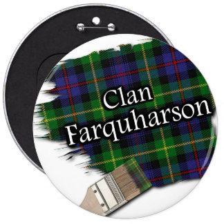Clan Farquharson Tartan Paint Brush 6 Inch Round Button