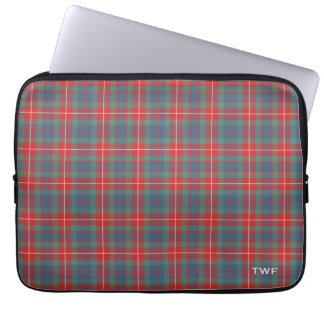 Clan Fraser Ancient Tartan Monogrammed Laptop Sleeve