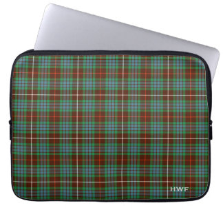 Clan Fraser Hunting Tartan Monogrammed Laptop Sleeve
