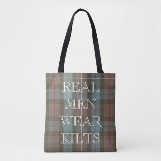 Clan Fraser Hunting Tartan Weathered Custom Text Tote Bag