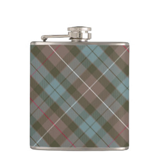 Clan Fraser Hunting Tartan Weathered - Rotated Hip Flask