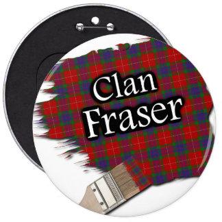 Clan Fraser Tartan Paint Brush 6 Inch Round Button