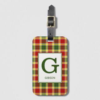 Clan Gibbs Tartan Monogrammed Bag Tag