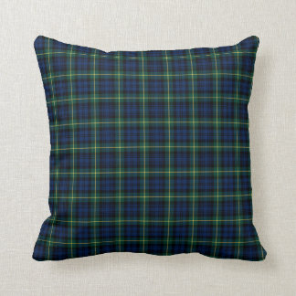 Clan Gordon Blue and Green Scottish Tartan Throw Pillow