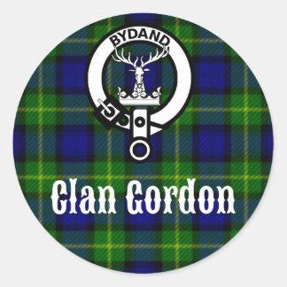 Clan Gordon Tartan Crest Classic Round Sticker