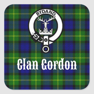 Clan Gordon Tartan Crest Square Sticker