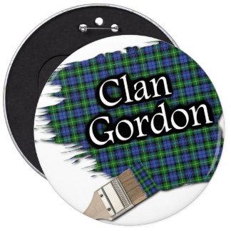 Clan Gordon Tartan Paint Brush 6 Inch Round Button
